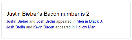 justin bieber bacon number