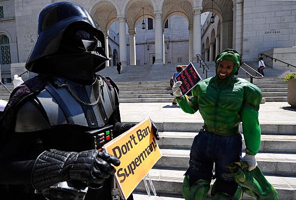 Hollywood Blvd Character Impersonators Protest Ban Against Them